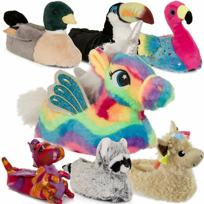 Womens Girls Novelty 3D Character Plush Unicorn Animal Slippers Ladies UK3-8