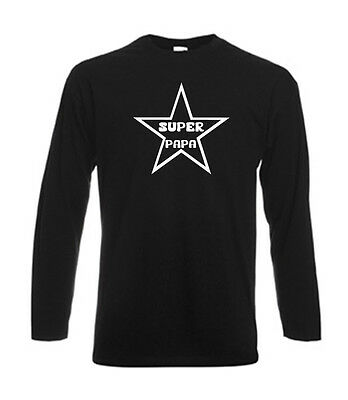 Tshirt noir homme manches longues Fruit Of The Loom SUPER PAPA STAR
