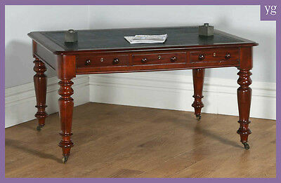 Antique English Victorian Mahogany & Leather Library Partners Table Office Desk