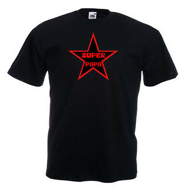 Tshirt noir homme manche courtes Fruit Of The Loom SUPER PAPA STAR