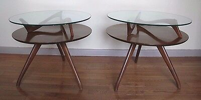 PAIR OF KAGAN STYLE 2 TIER ROUND SIDE TABLES mid century danish pearsall end