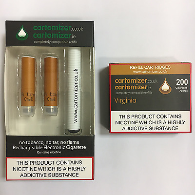 E CIGARETTE STARTER KIT WITH 18Mg VIRGINIA  CARTOMIZERS  VIP COMPATIBLE