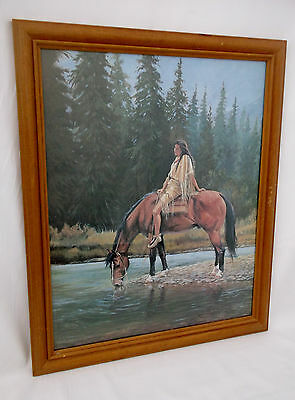 Native American & Horse Drinking From Stream-Matted,Framed Signed-L.Triesch '94