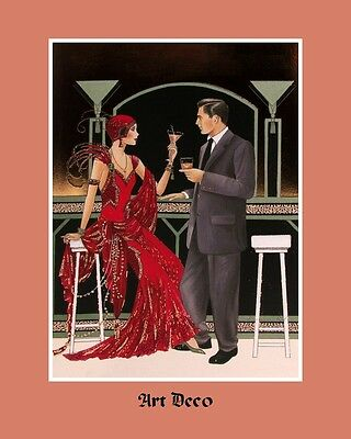 "A 10"" x 8"" Art Deco Print - Couple Toasting - Drink"