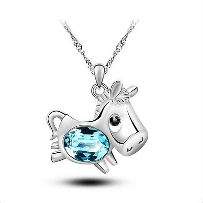 Horse Shape Creative Women's Jewelry Necklace Crystal  Pendant Christmas Gift