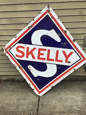 Skelly Oil Double Sided Skelly Porcelain Sign