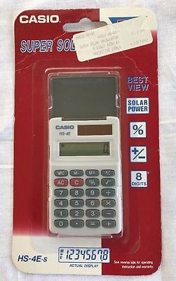Casio Electronic Calculator HS-4E-S SOLAR SMALL FLIP TOP CASE NEW SEALED VINTAGE