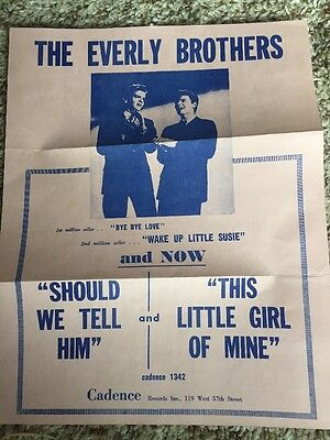 Original 1950's The Everly Brothers Cadence Records Advertisement Flyer