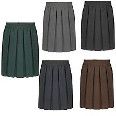 Girls School Uniform Box Pleated Elasticated waist school kids Skirt Age 2-13Yrs