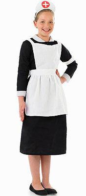 Girls Hospital Nurse Costume WWII WW2 World War Fancy Dress Outfit New 6-8-10