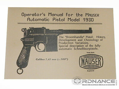MAUSER MODEL AUTOMATIC Pistol 1912 1914 Owners Manual