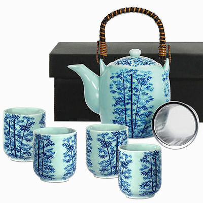 5 PCS. Japanese Tea Pot & Cups Set w/ Strainer Blue Lucky Bambo, Made in Japan