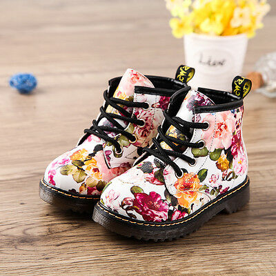 Floral Boots White Flower Doc Martens Style Toddler Girl Baby