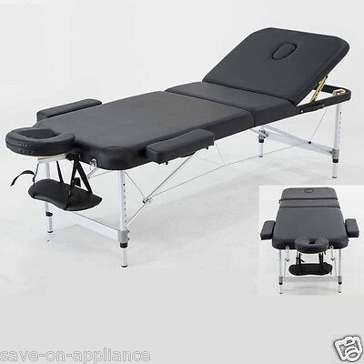 "Used - Aluminum 84""L 3-Section Portable Massage Table Facial SPA Bed Tattoo Bed"