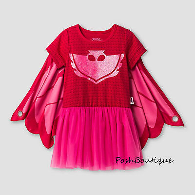 NWT PJ Masks Owlette Catboy Pink Girl Wings Hoodie Cape Costume Dress 3T 4T 5T 6