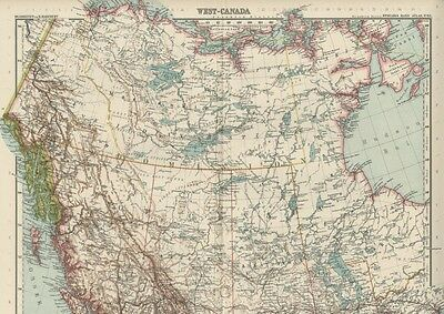 Canada TWO Maps: East Canada / West Canada Large, Detailed & Dated 1908
