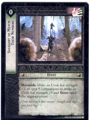 Lord Of The Rings CCG FotR Card 1.R139 Savagery To Match Their Numbers