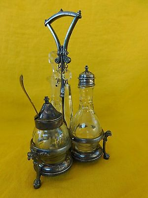 Antique Reed & Barton Silverplate CASTOR CRUET 192 Etched Glass