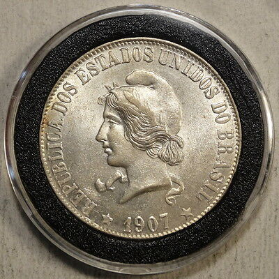 Brazil 2000 Reis 1907, KM508, Choice Almost Uncirculated, Nice Coin!   0301-99