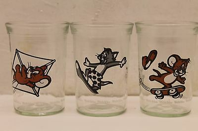 3 Vintage Welches Tom and Jerry Jelly Glass Jars Kite Tom Surf Jerry Skateboard