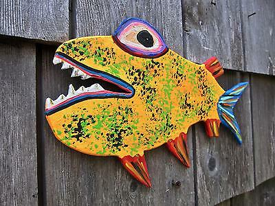 BiG EYE FiSH ~ORiGINAL HAND CUT WOOD~Abstract KENO FOLK ART~COASTWALKER