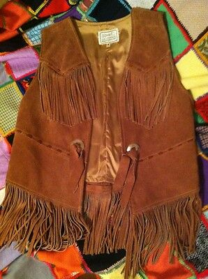 Vintage H Bar C Leather Fringe Vest Trendy Boho Chic 10