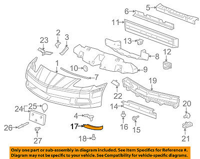 1997-2004 Chevrolet C5 Corvette Genuine GM RH Air Dam Valance Panel 10419313