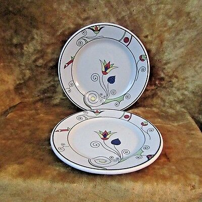 "Art Deco Buffalo China Blue Lune' Ware Pr. of 6 1/4"" Plates/Tulip Design/1929"
