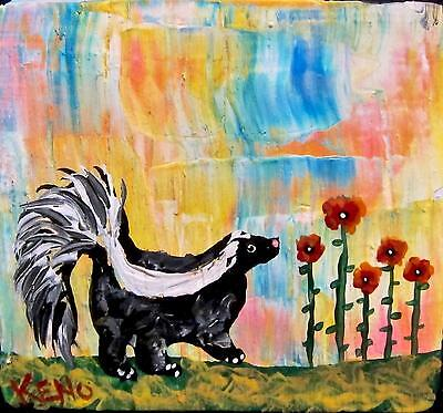 "~SKUNK~Flowers~Mini 3""x3"" wood Abstract painting~KENO ART FOLK ~COASTWALKER"