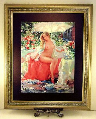 Canvas Art Print of Impressionist Oil Painting Beautiful Nude Lady Gold Frame