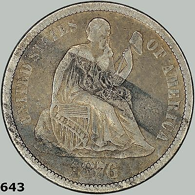 1876-CC 10c Seated Liberty Dime, Higher grade Very Fine, Rubber band burns