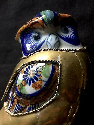 RARE Vintage Pottery Ceramic Owl Figure Covered in Brass Copper Blue