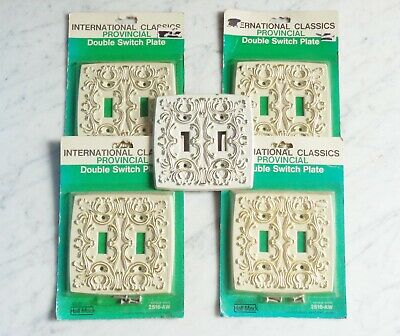 5 Vintage International Antique White Provincial Double Light Switch Plate Cover