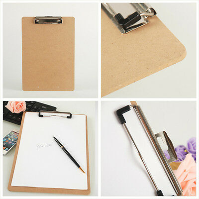 Wooden A4 File Paper Clip Wood Writing Board Metal Clip Document Clipboard SL