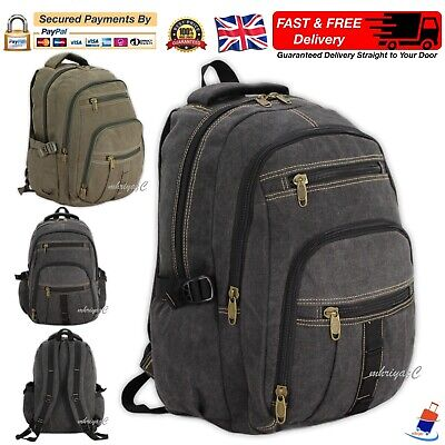 Mens Ladies Boys Girls Strong Canvas Backpack Rucksack Work School College Bag