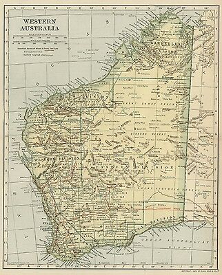 Western Australia Map; Authentic 1907 (Dated) Cities, Towns, Topography, RRs +