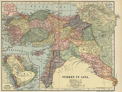 Turkey in Asia Map: Authentic 1903 (Dated) Towns, Topog. RRs: with Arabia Inset