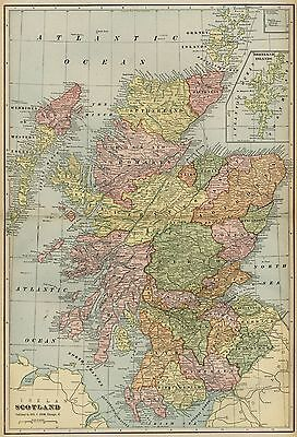 Scotland Map: Authentic 1899; with Cities; Towns; RRs, Topography