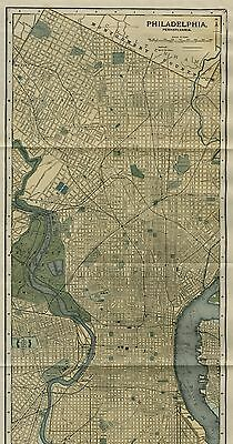 PHILADELPHIA Street Map /Plan: Authentic 1903 (Dated) Landmarks;  20 Inches Long