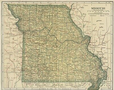MISSOURI Map: 100 Years Old showing Counties, Towns, Topography, Railroads