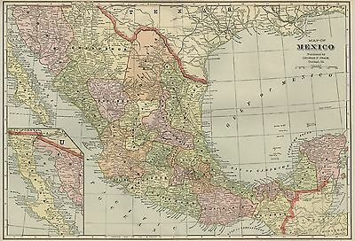 MEXICO Map: Authentic 1899 with Cities; Towns; Railroads, Topography