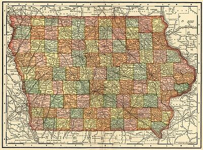 Iowa Map: Authentic 1895 (Dated) showing Towns, Counties, Railroads & More