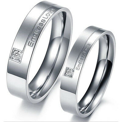 Couples Wedding Stamped Silver Stainless Steel Band Ring Size 5 6 7 8 9 10 Gift