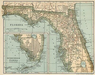 Florida Map: Authentic 1902 (Dated) Cities, Counties, RRs & 1900 Population
