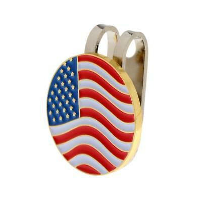 Metal USA Flag Golf Ball Marker Magnetic + Hat Clip Golf Accessory