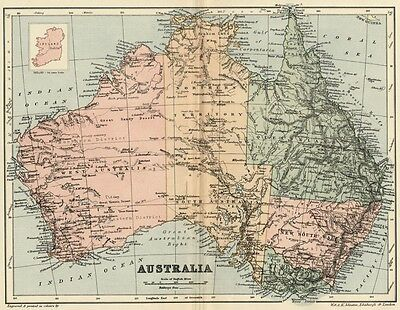 Australia Map: Authentic 1895; with Towns, Topography, Railroads +