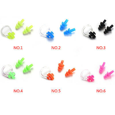 New For Kids Adults Diving Swimming Waterproof Ear Plugs And Nose Clip Set