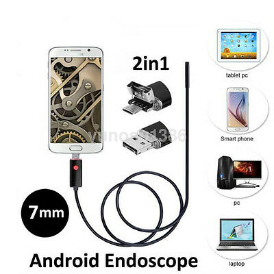 7mm Waterproof Android PC HD Endoscope Snake Borescope USB Inspection Camera US