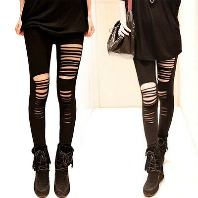 Basic Strech Leggings Holes Ripped Punk Rock Fashion Women Slim Tight Trousers