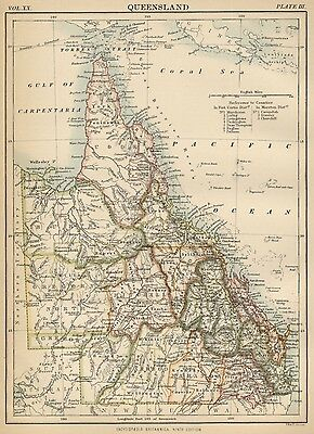 Queensland; Australia: Authentic 1889 Map showing Towns; Rivers; Topography +